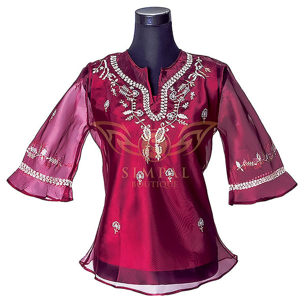 Ladies Barong - Maroon - Simpal Boutique