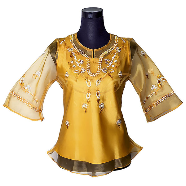 Ladies Barong - Mat Gold -  Filipinana - Adults - Simpal Boutique