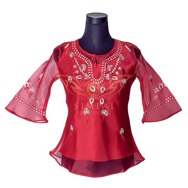 Ladies Barong - Red - Simpal Boutique
