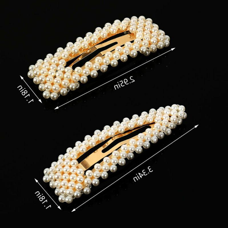 Women's Girls Pearl Hair Clip 2n1Hairpin Slides Grips Barrette Clips Accessories - Simpal Boutique