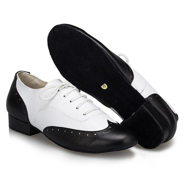 Help Me Dance Men's Modern Shoes / Ballroom Shoes Leather Lace-up Heel Thick Heel Dance Shoes Black N White - Simpal Boutique