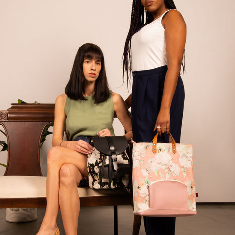 Leather and textile backpack made in Canada