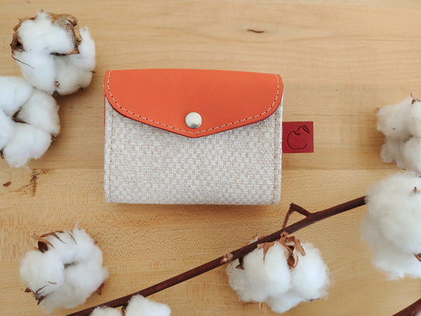 orange leather and canvas credit card holder