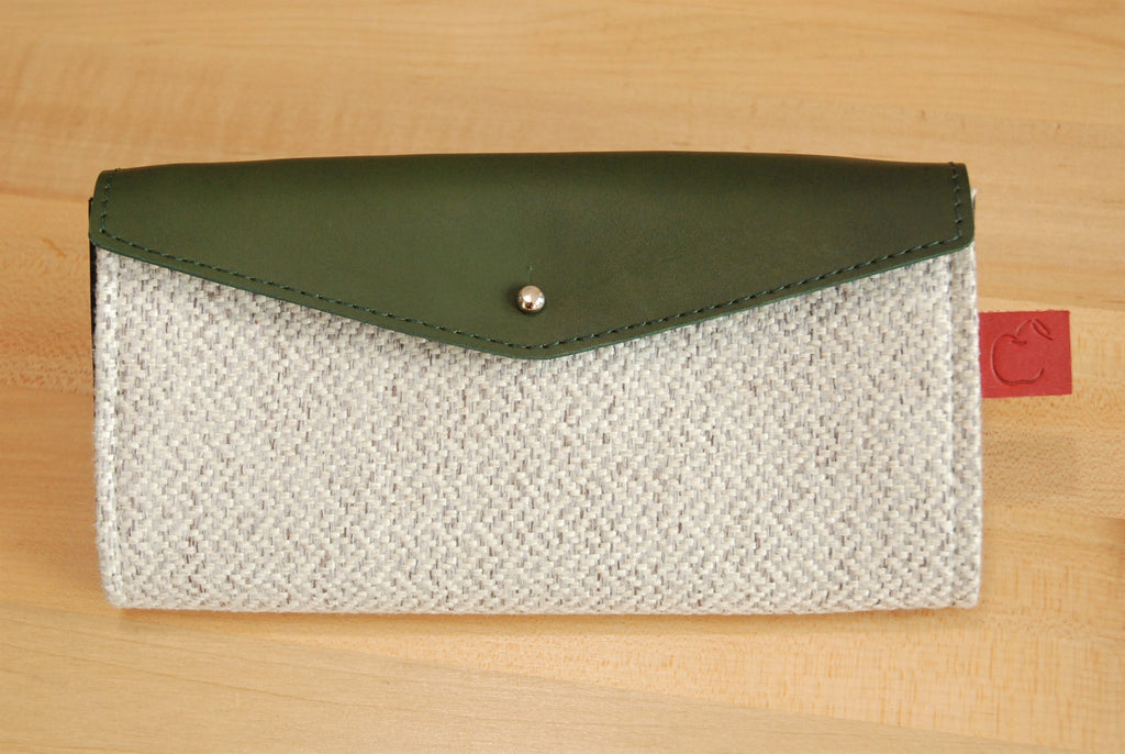 Women's green and gray leather wallet made in Canada