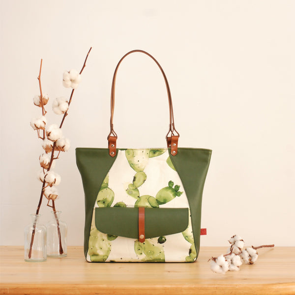 Green leather and cactus print tote bag made in Canada