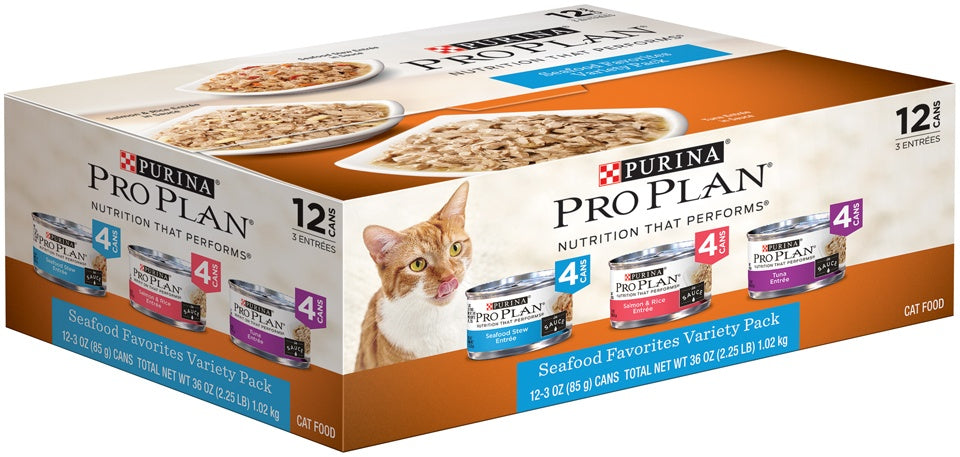 Purina Pro Plan Savor Seafood Entrees Variety Pack Adult Canned Cat Food