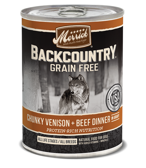 Merrick Backcountry Grain Free Chunky Venison & Beef Canned Dog Food