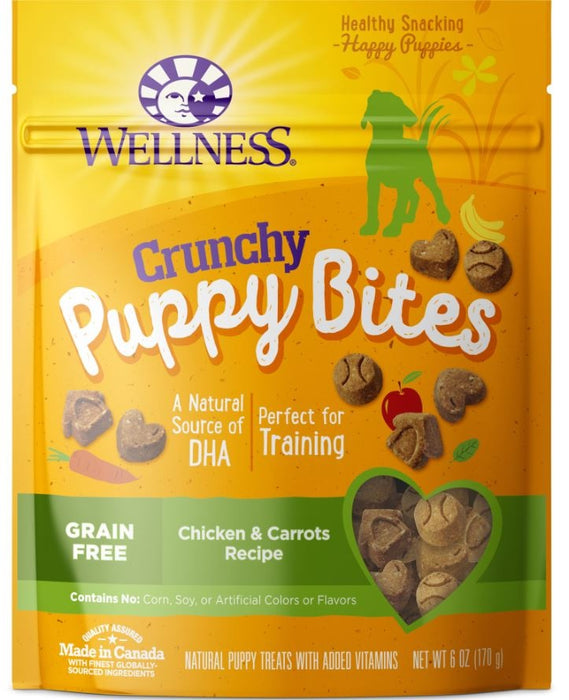 Wellness Natural Grain Free Crunchy Puppy Bites Chicken and Carrots Recipe Dog Treats