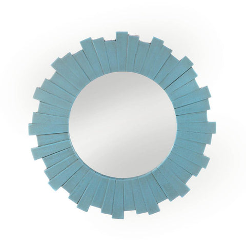 Blue Sunburst Wall Mirror - One of A Kind Decor