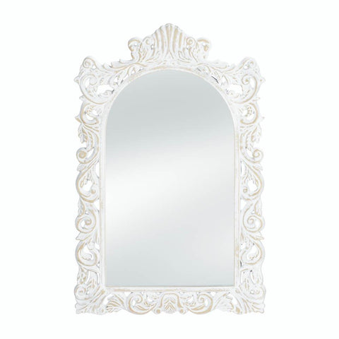 Distressed White Wall Mirror - One of A Kind Decor