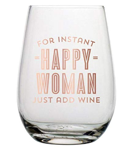 Happy Woman Stemless Wine Glass - One of A Kind Decor