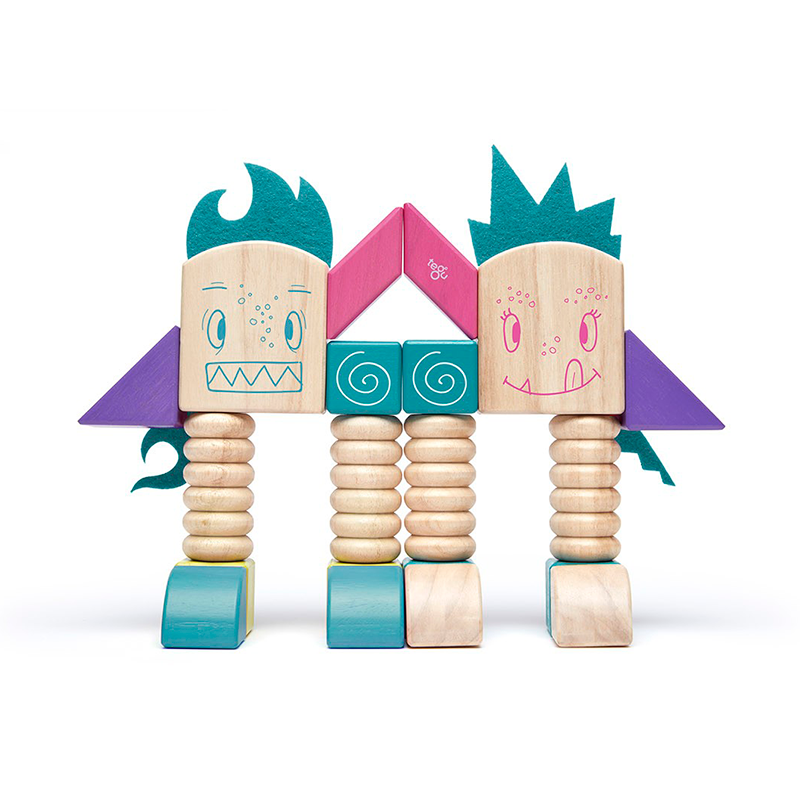 Beans & Tumtum <br>Magnetic Wooden Blocks <br>Sticky Monsters, 8 pieces