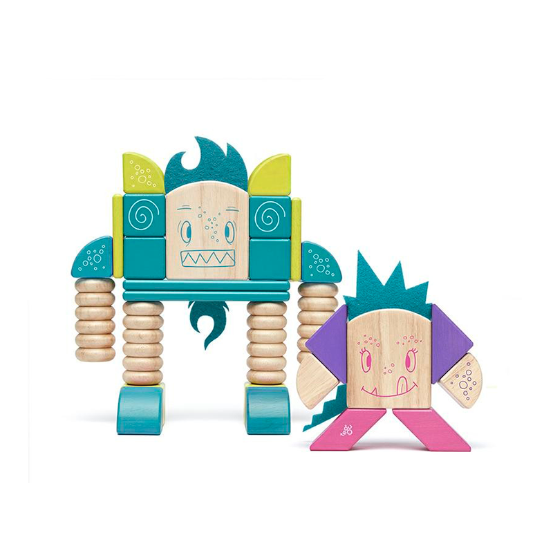 Beans & Tumtum <br>Magnetic Wooden Blocks <br>Sticky Monsters, 30 pieces