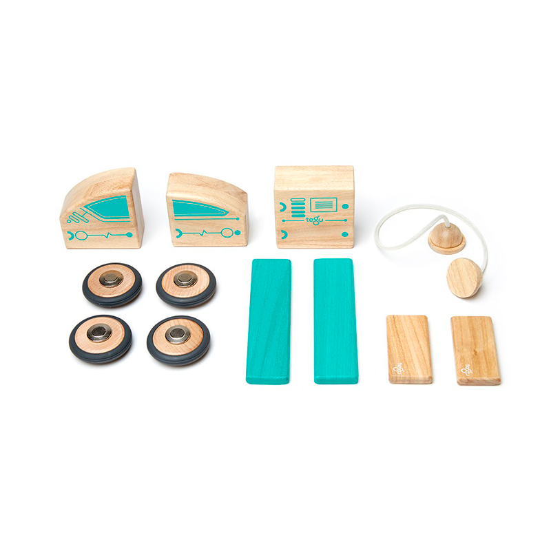 Circuit Racer <br>Magnetic Wooden Blocks <br>Future Collection, 12 pieces