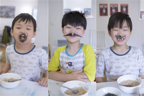 The Song Triplets eating seaweed