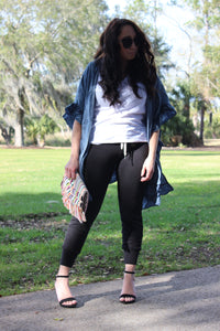 Western Denim Cardi paired with distressed joggers.