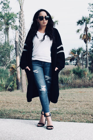 Black Oversized Chunky Cardigan