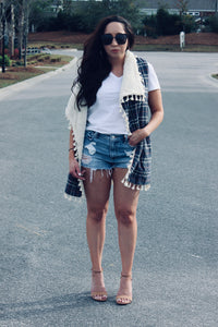 Tassled Plaid Vest