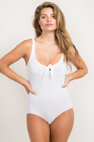 Scoop Neck Bow Tie Bodysuit