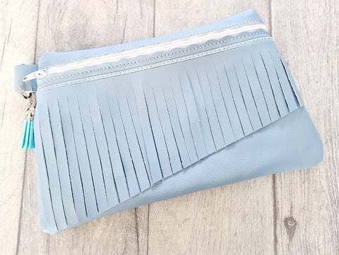 DIGITAL DOWNLOAD Vicky Fringe Clutch Applique Zipper Bag Lined and Unlined