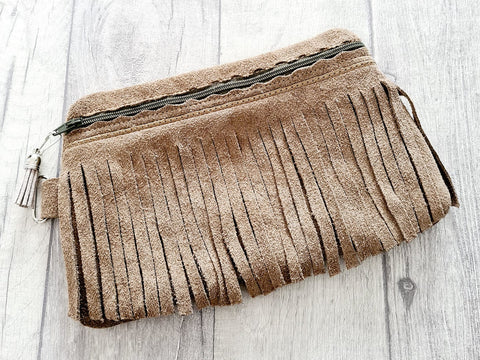 DIGITAL DOWNLOAD Naomi Original Fringe Clutch Applique Zipper Bag Lined and Unlined
