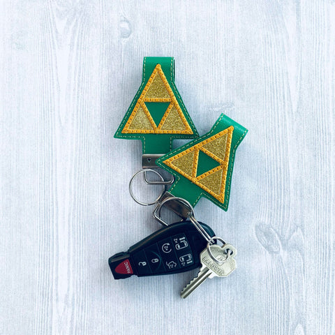 5x7 6x10 DIGITAL DOWNLOAD Triforce Applique Key Fob Set
