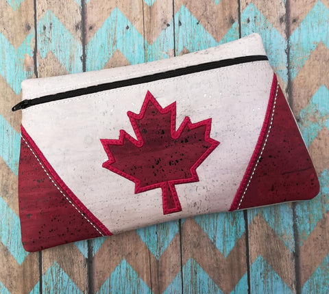 DIGITAL DOWNLOAD Maple Clutch Canada Canadian Flag Zippered Bag Lined and Unlined