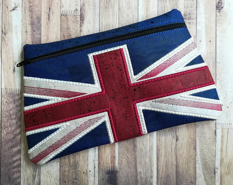DIGITAL DOWNLOAD Union Jack Clutch Zipper Bag Applique Lined and Unlined