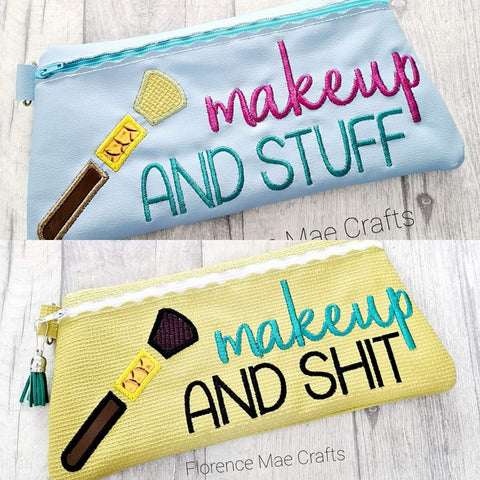 DIGITAL DOWNLOAD Makeup and Stuff Skinny Clutch Set of Three and Two Versions Applique