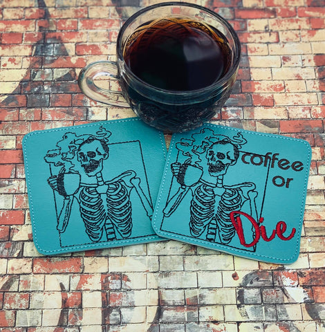 DIGITAL DOWNLOAD Coffee or Die Coaster Set 2 Versions Included