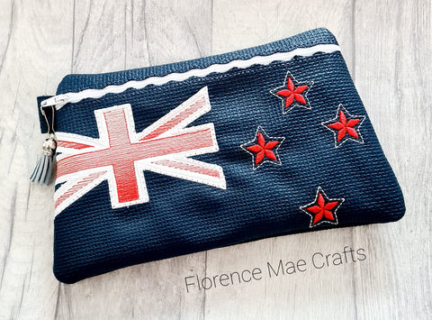 DIGITAL DOWNLOAD New Zealand Flag Clutch Applique Lined and Unlined Options