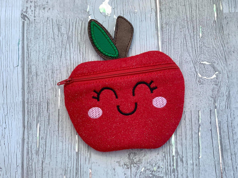DIGITAL DOWNLOAD Apple Cutie Zippered Bag Lined and Unlined
