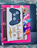 DIGITAL DOWNLOAD ITH Pencil Pouch Second Grade Level Up Applique Binder Bag 4 Sizes Included