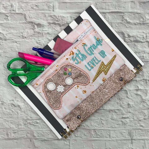 DIGITAL DOWNLOAD ITH Pencil Pouch Fifth Grade Level Up Applique Binder Bag 4 Sizes Included
