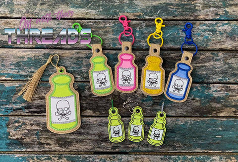 DIGITAL DOWNLOAD Poison Bottle Set Snap Tab Bookmark Eyelet Charm Applique