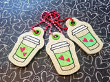 DIGITAL DOWNLOAD Applique Coffee Cup Set Snap Tab Bookmark Eyelet Charm
