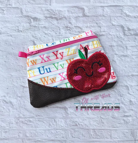 DIGITAL DOWNLOAD Apple Clutch Applique Zipper Bag Lined and Unlined