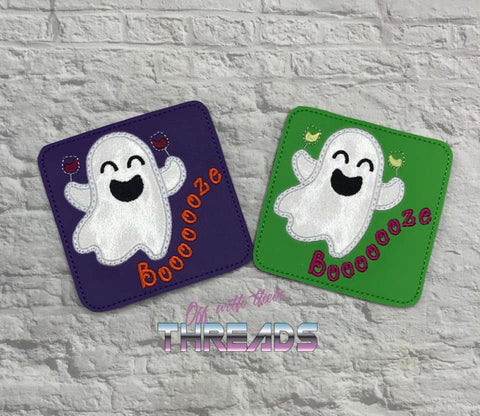 DIGITAL DOWNLOAD Applique Booze Ghost Coaster