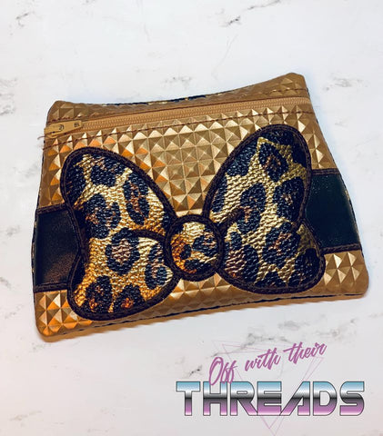 DIGITAL DOWNLOAD Applique Bow Zipper Bag Lined and Unlined