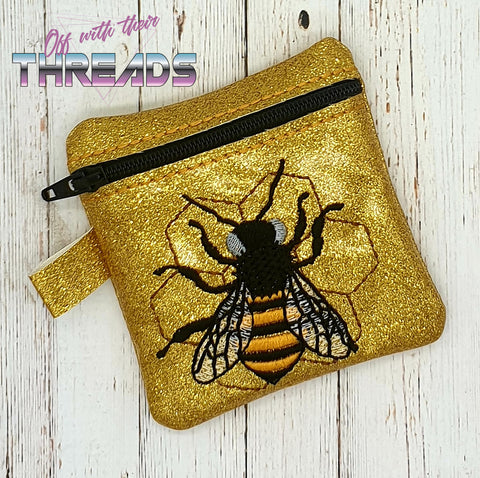 DIGITAL DOWNLOAD 4x4 Honey Bee Zipper Bag Lined and Unlined Options Included