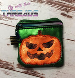 DIGITAL DOWNLOAD 4x4 Applique Jack O Lantern Zipper Bag Lined and Unlined Options Included