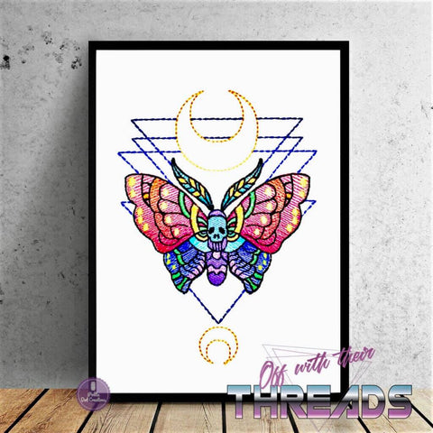 DIGITAL DOWNLOAD Death Moth Sketch Embroidery Design 4 SIZES INCLUDED