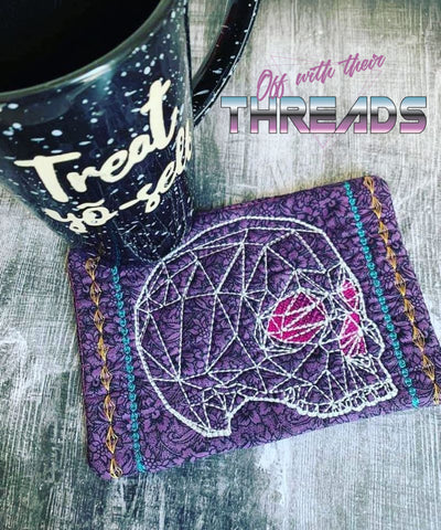 DIGITAL DOWNLOAD Geometric Skull Mug Rug and Place Mat Set 4 SIZES