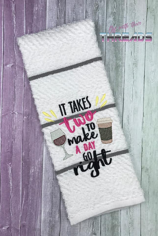 DIGITAL DOWNLOAD ITH It Takes Two To Make A Day Go Right Design Set 3 SIZES INCLUDED