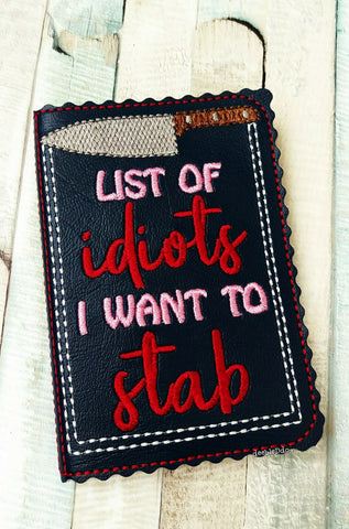 DIGITAL DOWNLOAD Idiots I Want To Stab 5x7 Mini Comp Notebook Holder Cover
