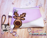 DIGITAL DOWNLOAD Rudolph Clutch Applique Zipper Bag Lined and Unlined