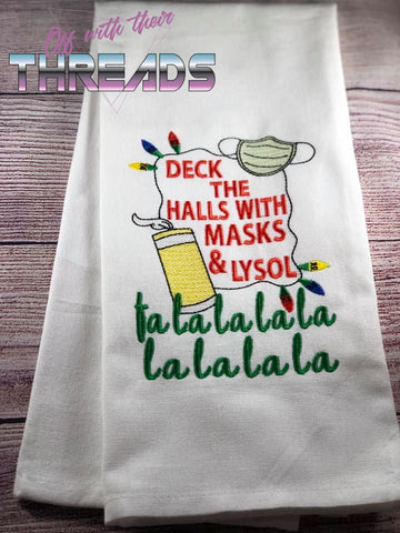 DIGITAL DOWNLOAD Deck The Halls With Mask and Lysol Sketch 3 SIZES INCLUDED