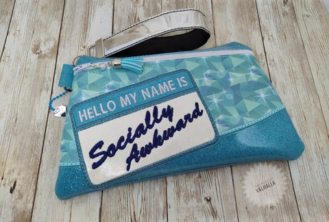 DIGITAL DOWNLOAD Socially Awkward Clutch Applique Zipper Bag Lined and Unlined