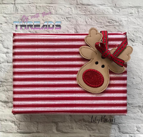 DIGITAL DOWNLOAD Rudolph Reindeer Ornament Gift Tag Applique