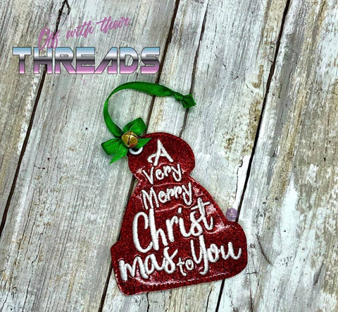 DIGITAL DOWNLOAD Very Merry Christmas Hat Ornament Gift Tag